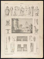 1860 Gravure histoire : Égypte. Archéologie, costumes. Temple, Cléopâtre