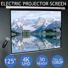 """125"""" Inch Electric Motorised Projector Screen Home Theatre HD TV Projection 3D"""