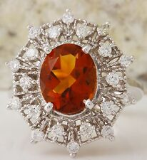 3.46Ct Natural Madeira Citrine and Diamond 14K Solid White Gold Ring