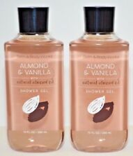 2 Bath & Body Work Almond & Vanilla Natural Oil Shower Gel Body Wash 10oz New
