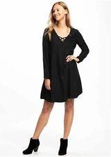 NWT Old Navy Lace-Up-Yoke Swing Dress, Black Jack SIZE S     #343365   v58
