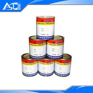 6 Color Screen Printing PVC Ink  2.2Lb/ 1Kg Press Plastisol Ink Black/ White/Red