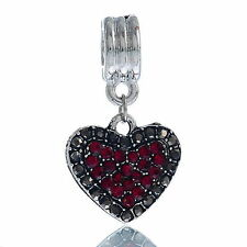 red rhinestone Heart valentine  Dangle Bead Fit Charm Bracelets G58