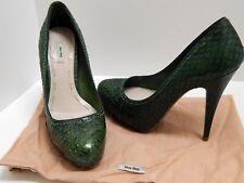 Miu Miu Black Green Genuine Snakeskin Platform Pumps Italy 36.5 6 M