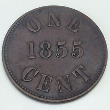 1855 Canada PEI Fisheries Agriculture 1 One Cent Plain 5 Circulated Token D906