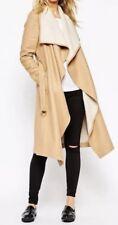Marca para mujeres abrigo con cascada y Cinturón Camello UK10 38 US6