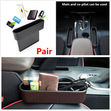 2X Black Braid PU Leather Car SUV Seat Gap Storage Box Coin/Keys/Cards Organizer