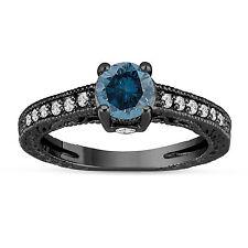 14K Black Gold Enhanced Blue Diamond Engagement Ring Vintage Style 1.20 Ct