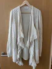 NEXT VINTAGE Boho Chunky Knit Fringed Cream Cardigan Tassels Size XS - 4 6 8 10
