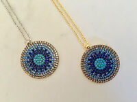 925 Sterling Silver Gold Evil Eye Necklace Cubic Zirconia Turquoise Mati Nazar