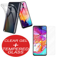 For Samsung Galaxy A40 / A50 / A70 Clear TPU Gel Case Cover + Tempered Glass