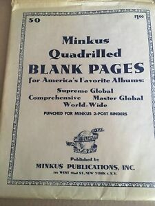 1 Pack Minkus # MQ3RBL Quadrilled Blank Pages For 2-Ring Albums, Open Pkg