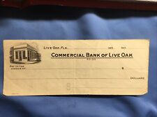 1930's Commercial Bank of Live Oak, Florida Obsolete Check Blank