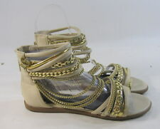 Summer Skintone/Gold Womens Fashion Ankle Strap Gladiator Sandals Size 7.5