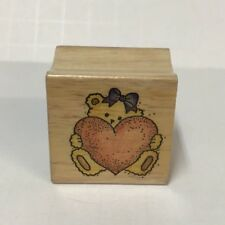 """Rubber Stamp Girl Teddy Bear With Hair Bow Holding Heart Love Wood Mounted 1.25"""""""
