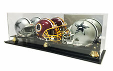 New Triple Football Mini Helmet Display Case with Mirror Back and Black Base