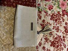 Ralph Lauren New White Sparkly Zipper Pouch Clutch Small Hand Bag Purse