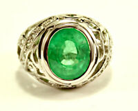 Beautiful Oval Green Quartz with CZ Stones Sterling Silver 925 Ring Size 8