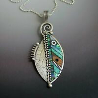 Resin Green Leaf Fashion Pendant Necklace Vintage Women Ethnic Chain Necklace