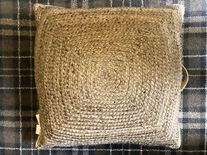 John Lewis Handmade Natural Square Jute Knit Pouffe XL Cushion Foot Stool Boho