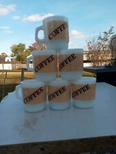 "6 Fire King Burlap Coffee 3 1/2"" Stacking Mugs"