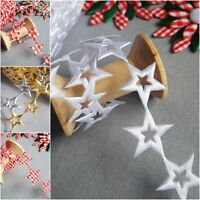 Star Shiny Christmas Decorations Winter  Ornaments trim ribbon cut out White
