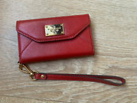 NWOT Michael Kors Phone Case Leather Wallet Wristlet Red Scarlet