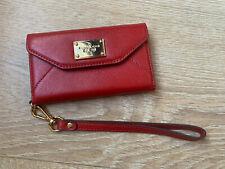 NWOT Michael Kors Phone Case Leather Wallet Wristlet Red Scarlet