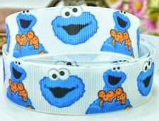 "7/8"" 2 YARDS Cookie Monster Grosgrain Ribbon Sesame Street Crafts Cards Hair Bow"