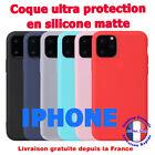Coque iPhone 11 iPhone 12 Pro MAX MINI SE 2020 X XR XS MAX 7 8 6 en Silicone Mat <br/> Coque pour iphone - en ROUGE/NOIR/BLANC GIVRE/CIEL/ROSE