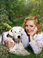 Jean Arthur UNSIGNED photo - H5444 - With her dog