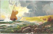 LOVELY VINTAGE POSTCARD,SAILBOAT,UNIDENTIFIED ARTIST,BELIGOLAND,1906