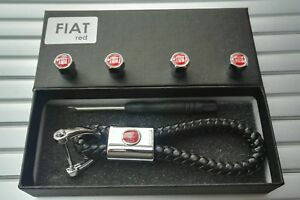 Fiat Luxury leather keyring keychain fob Gift box