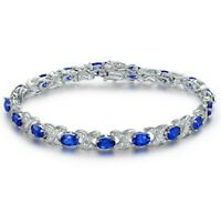 18K White Gold Filled Lab-Created Blue Sapphire Tennis Bracelet 3-1/4 Ctw ITALY