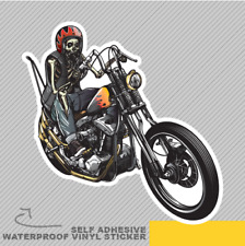 TESCHIO Motociclista Chopper Classic Scheletro Adesivo Vinile Decalcomania Finestra Auto Van Bici 2109