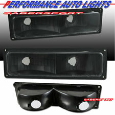 Set of Pair Black Signal Bumper Lights for 1988-1999 GMC Chevy C/K Full Size