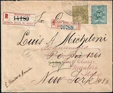 2381 URUGUAY TO US READDRESSED TO ITALY REG. COVER 1905 ACQUANEGRA SUL CHIESE