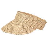 Ladies Anti-Uv Roll Up Sun Visor Hat Women Straw Raffia Sun Visor Caps N1R8
