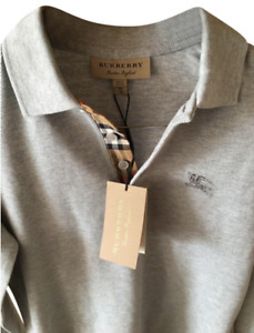 BURBERRY Pale Grey Densford with Check Insert Activewear SHIRT
