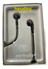 Heyday Earbuds Wired Mic & Remote Black Braided 3.5 mm Aux Plug - New
