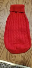 Small Red Cable Knit Dog turtle-neck Sweater 14""