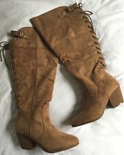 Extra Wide Calf Boots Size 11W 11 Wide Tan Faux Suede Lace Up Back & Inside Zip