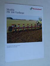 catalogue prospectus Tracteur : charrue KVERNELAND modèle PB 100 varilarge