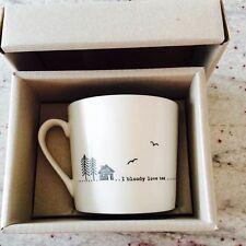 East Of India White Porcelain Mug I Bloody Love Tea Gift Vintage Style Boxed