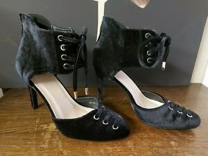 Gorgeous Black Velvet Heels by W.S Shoes, Size 5.5