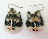 CAT Face EARRINGS Genuine Rabbit Fur Pierced EUC Handmade Jewelry Vintage