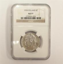 1935 Poland 5 Zloty silver coin NGC AU55