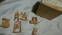6 Vintage Miniature Wooden Christmas Ornaments dolls sears roebuck & co.