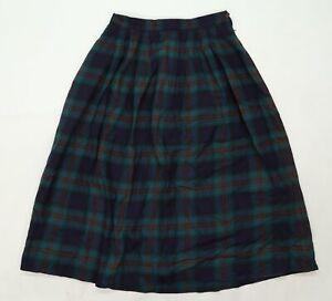 Viyella Womens Green Check  Pleated Skirt Size 30