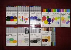 61 Copic markers lot, Sketch and Ciao Sets, Dual Tipped Alcohol Ink Markers, NEW